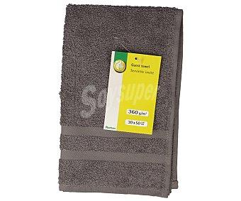 Productos Económicos Alcampo Toalla de tocador lisa color gris, densidad de 360 gramos/m², 30x50 centímetros 1 unidad