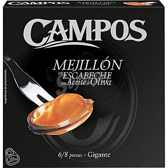 Campos Mejillones en escabeche fritos con aceite de oliva de las rías gallegas 6-8 piezas Lata 80 g neto escurrido