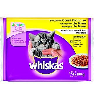 Whiskas Comida gato selección aves Pack 4 u x 100 g