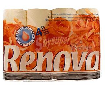 Renova Papel higienico perfumado 4 capas locionadas Paquete 12 rollos