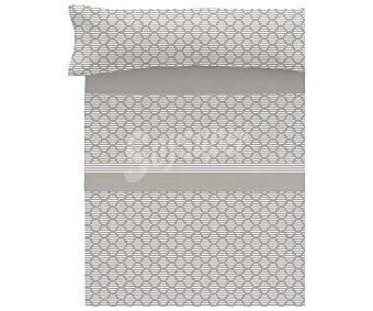 TEXTIL HOGAR Juego de sábanas tejido pirineo color gris para cama de 90cm, diseño geométrico, Hogar.