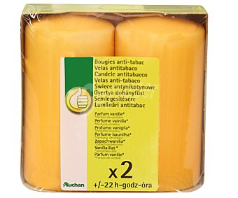 Productos Económicos Alcampo Velas cilíndricas antitabaco con olor a vainilla Pack de 2 Unidades