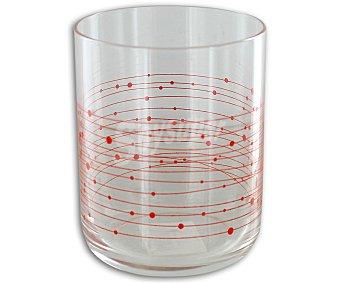 EFG Vaso modelo Bliss, con capacidad de 25 centilitros y fabricado en cristal con decoración de lineas y puntos de color rojo 1 Unidad