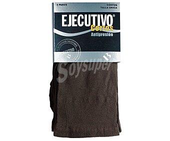 EJECUTIVO Pack de 3 pares de calcetines cortos, 40 den, antipresión,, color marrón, talla única Pack de 3