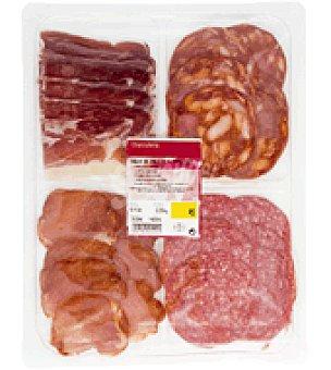 Abrilisto Surtido de cuatro Ibéricos de cebo: Jamón, Chorizo, Salchichón y lomo Bandeja de 200 g