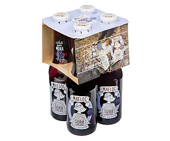 Maeloc Sidra achampanada sabor mora Pack 4 botellines x 20 cl