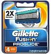Fusion proglide maquinilla de afeitar recambio Blíster 4 uds Gillette