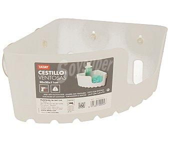 Tatay Cesta rinconera de 20 centímetros de plástico translucido y ventosas para su fijación en la pared 1 unidad