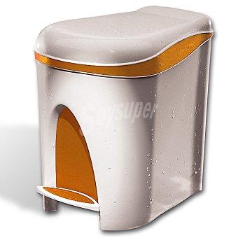 CASACTUAL Nature Cubo de baño con pedal en color blanco y naranja 7 l