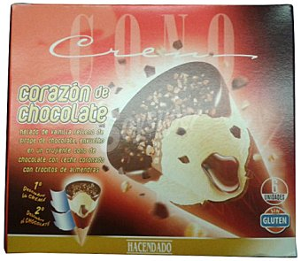 Hacendado Helado cono corazon chocolate/vainilla base de chocolate Caja 6 u