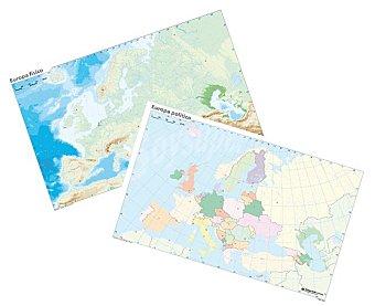 ERIK Pack de 10 mapas mudos de Europa, 5 mapas mudos políticos y 5 físicos de 32,4x22,5 centímetros Pack de 10 unidades