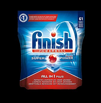 Finish Pastillas para lavaplatos Todo en 1 Calgonit  Envase 61 dosis