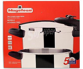 Magefesa Ollas expréss modelo Athenas Trio, con cuerpo de acero inoxidable 10/18, asas de baquelita, fondo termo difusor encapsulado, 5 sistemas de seguridad. Capacidad de 6 y 4 litros. Aptas para todo tipo de fuegos 1 Unidad