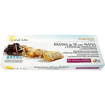 SPECIAL LINE Especial Diabéticos Pastas de té con avena y pepitas de chocolate 10 unidades envase 205 g 10 unidades