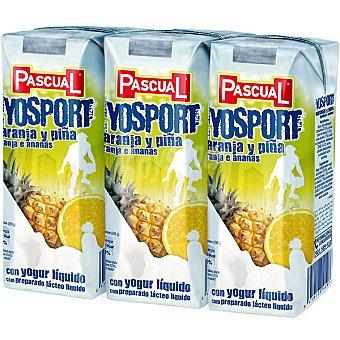 Pascual Zumo de fruta con leche naranja y piña Yosport Pack 3 envases 250 ml