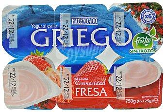 Hacendado Yogur griego fresa Pack 6 x 125 g - 750 g