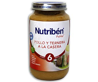 Nutribén Potito de pollo y ternera casera Bote 250 g
