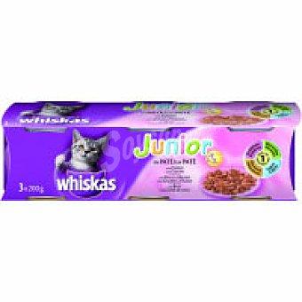 Whiskas Alimento para gato de 1-6 meses Pack 3x190 g