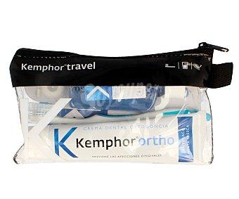 Kemphor Neceser con pasta fluorada ortodoncia, cepillo de dientes, seda dental y enjuague bucal 1 unidad