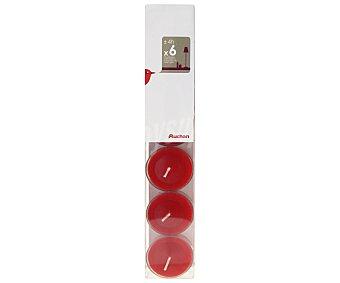 Auchan Velas Calientaplatos o Teeligths Color Rojo Pack de 6 Unidades