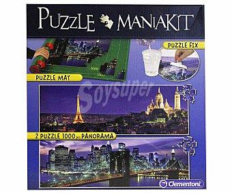 CLEMENTONI Kit Puzzle Manía con 2 Puzzles Panorama de 1000 Piezas 1 Unidad