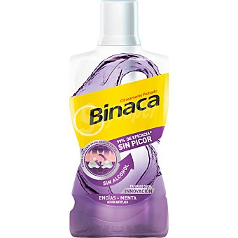 Binaca Enjuague antiséptico encías sabor menta sin alcohol Frasco 500 ml