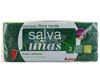 Auchan Estropajo fibra verde salva uñas, 3 unidades