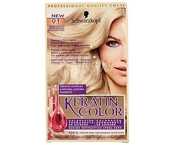 KERATIN COLOR Tinte nº 9.1 rubio muy claro helado coloración permanente de cuidado  Caja 1 unidad