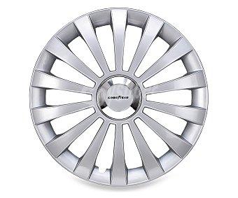 """GOODYEAR Juego de 4 tapacubos modelo Flexo para ruedas de 15"""", de color plata y diseño robusto y plano con aspecto de llanta de aleación Juego 4 tapacubos 15"""""""