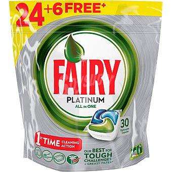 Fairy Detergente lavavajillas Platinum todo en 1 envase 24 unidades