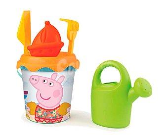 PEPPA PIG Conjunto de juguetes de playa (pala, rastrillo, regadera...) y un cubo para transportalos y guardarlos  1 unidad