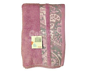 Auchan Toalla para ducha de algodón, estampada color violeta , 70x140 centímetros, densidad del tejido: 500 gramos/m² 1 Unidad