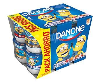 Danone Yogures sabores 4 fresa + 4 galleta + 2 macedonia + 2 fresa-plátano 12 unidades de 125 g