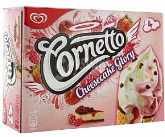 Cornetto Frigo Conos helados sabor Cheesecake y helado de fresa con salsa frambuesa 4 Unidades de 90 Mililitros
