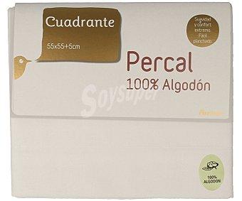 Auchan Funda de percal 100% algodón para almohada individual, color blanco, 55x50 centímetros 1 Unidad