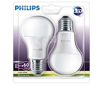 Philips Bombillas led esféricas 9W, con casquillos E27 (gruesos) y luz cálida 2 unidades