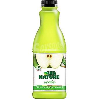 VIA NATURE Verde Zumo de pera, manzana y mango con aloe vera Envase 900 ml