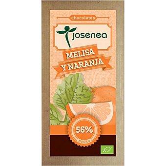 JOSENEA Chocolate negro con melisa y naranja 56% cacao Bio  tableta de 100 g