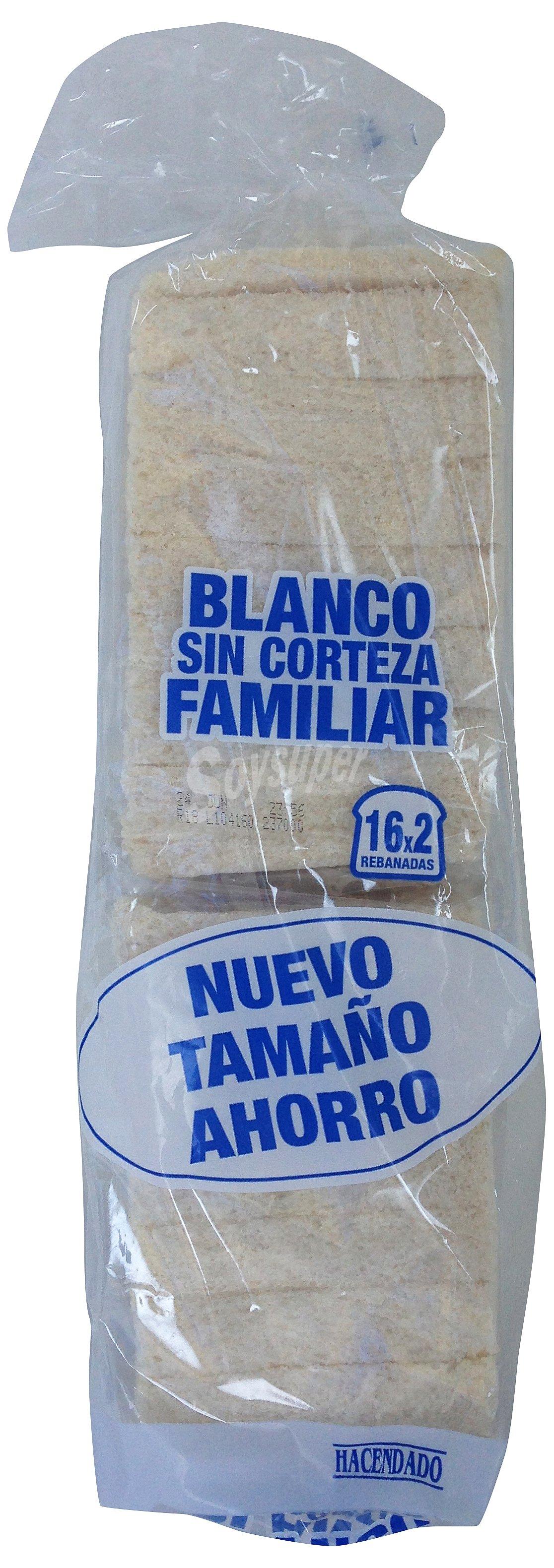 Hacendado Pan molde blanco sin corteza familiar (2