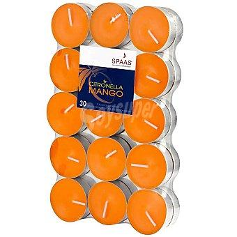 SPAAS Paquete de 30 velas calientaplatos citronella aroma mango