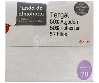 Auchan Funda de almohada color blanco, 70/80 centímetros 1 Unidad