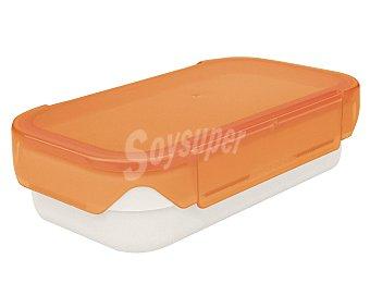 Iris Recipiente rectángular hermético Lunch Box, tapa color naranja, 0,6 litros de capacidad 1 unidad