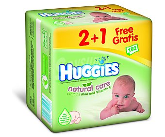 HUGGIES Toallitas para bebé Natural care de Pack 2+1