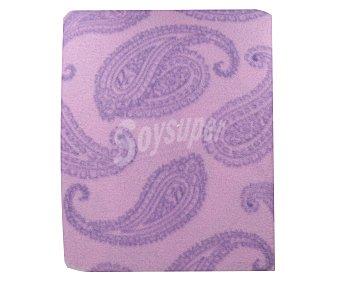 Auchan Juego de sábanas de 3 piezas con tejido pirineo 100% poliéster color rosa estampado para cama de 105 centímetros 1 unidad