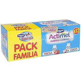 Danone Actimel Yogur líquido 6 fresa + 6 coco 12 unidades de 100 g