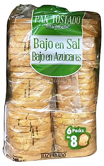 HACENDADO Pan tostado integral bajo en sal y bajo en azúcar Paquete de 540 g