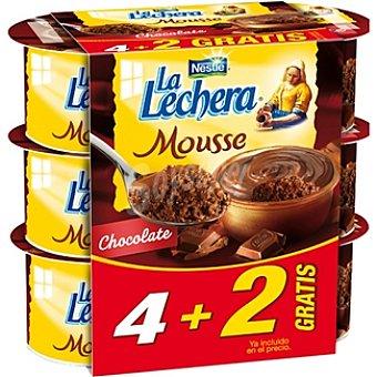 La Lechera Nestlé Mousse de chocolate + 2 gratis Pack 4 unidades 59 g