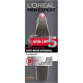 L'Oréal MEN EXPERT Vitalift 5 contorno de ojos roll-on anti-edad integral  tubo 10 ml