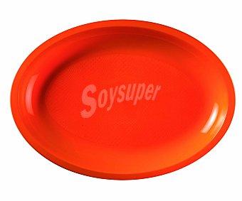 NV CORPORACION Fuente ovalada desechable de plástico color naranja, 31,5 centímetros de diámetro 6 uniades