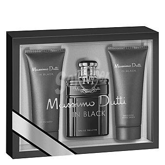 Massimo Dutti Estuche colonia In Black 100 ml. + After Shave 75 ml. + Gel de baño 75 ml. 1 ud